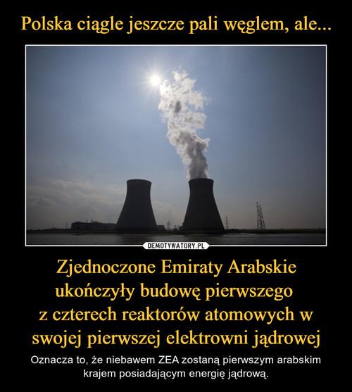 Polska ciągle jeszcze pali węglem, ale... Zjednoczone Emiraty Arabskie ukończyły budowę pierwszego  z czterech reaktorów atomowych w swojej pierwszej elektrowni jądrowej