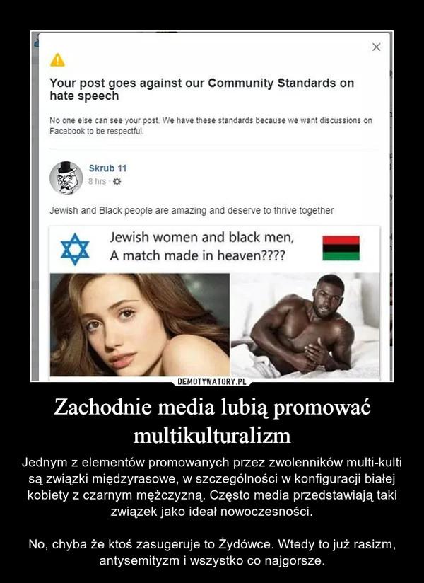 Zachodnie media lubią promować multikulturalizm – Jednym z elementów promowanych przez zwolenników multi-kulti są związki międzyrasowe, w szczególności w konfiguracji białej kobiety z czarnym mężczyzną. Często media przedstawiają taki związek jako ideał nowoczesności.No, chyba że ktoś zasugeruje to Żydówce. Wtedy to już rasizm, antysemityzm i wszystko co najgorsze.