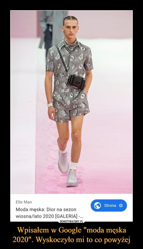 """Wpisałem w Google """"moda męska 2020"""". Wyskoczyło mi to co powyżej –  Elle Man Moda męska: Dior na sezon wiosna/lato 2020 [GALERIA] -..."""