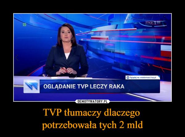 TVP tłumaczy dlaczego potrzebowała tych 2 mld –  Oglądanie TVP leczy raka