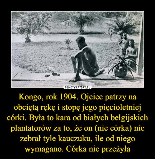 Kongo, rok 1904. Ojciec patrzy na obciętą rękę i stopę jego pięcioletniej córki. Była to kara od białych belgijskich plantatorów za to, że on (nie córka) nie zebrał tyle kauczuku, ile od niego wymagano. Córka nie przeżyła –