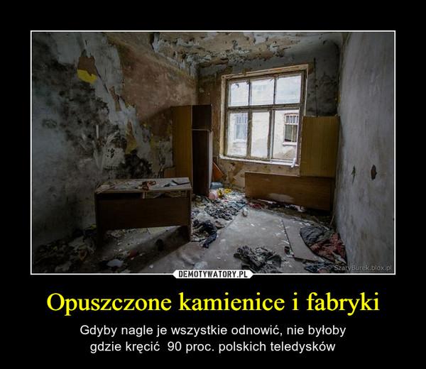Opuszczone kamienice i fabryki – Gdyby nagle je wszystkie odnowić, nie byłobygdzie kręcić  90 proc. polskich teledysków