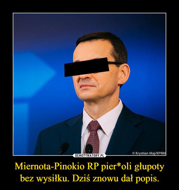 Miernota-Pinokio RP pier*oli głupoty bez wysiłku. Dziś znowu dał popis. –