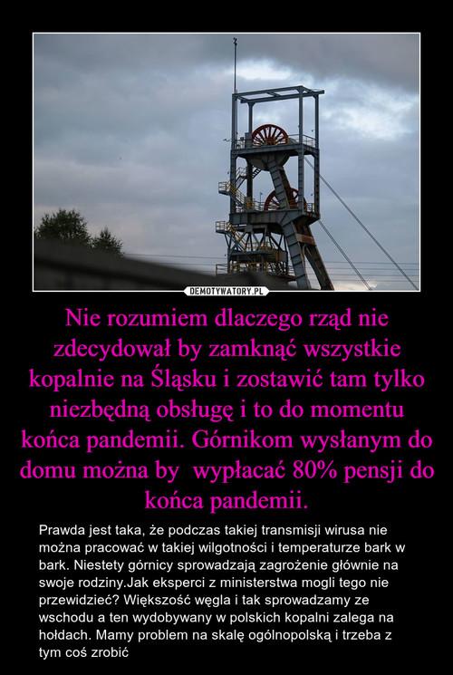 Nie rozumiem dlaczego rząd nie zdecydował by zamknąć wszystkie kopalnie na Śląsku i zostawić tam tylko niezbędną obsługę i to do momentu końca pandemii. Górnikom wysłanym do domu można by  wypłacać 80% pensji do końca pandemii.