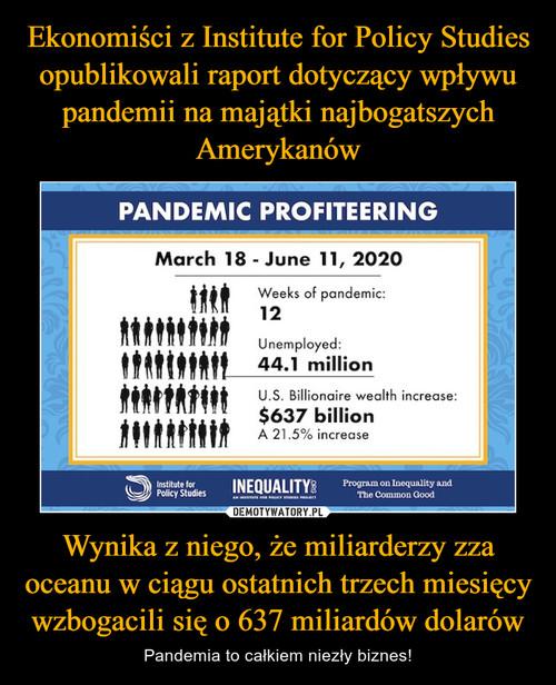 Ekonomiści z Institute for Policy Studies opublikowali raport dotyczący wpływu pandemii na majątki najbogatszych Amerykanów Wynika z niego, że miliarderzy zza oceanu w ciągu ostatnich trzech miesięcy wzbogacili się o 637 miliardów dolarów