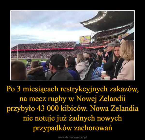 Po 3 miesiącach restrykcyjnych zakazów, na mecz rugby w Nowej Zelandii przybyło 43 000 kibiców. Nowa Zelandia nie notuje już żadnych nowych przypadków zachorowań –