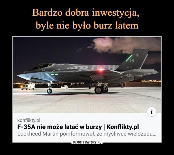 –  konflikty.plF-35A nie może latać w burzy   Konflikty.plLockheed Martin poinformował, że myśliwce wielozada...
