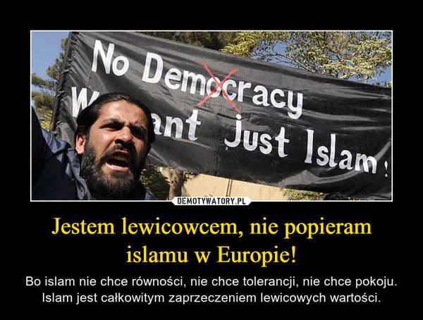 Jestem lewicowcem, nie popieram islamu w Europie! – Bo islam nie chce równości, nie chce tolerancji, nie chce pokoju. Islam jest całkowitym zaprzeczeniem lewicowych wartości.
