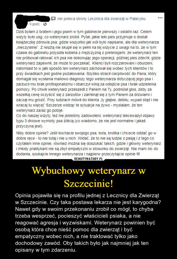 Wybuchowy weterynarz w Szczecinie! – Opinia pojawiła się na profilu jednej z Lecznicy dla Zwierząt w Szczecinie. Czy taka postawa lekarza nie jest karygodna? Nawet gdy w swoim przekonaniu zrobił co mógł, to chyba trzeba wesprzeć, pocieszyć właścicieli psiaka, a nie reagować agresja i wyzwiskami. Weterynarz powinien być osobą która chce nieść pomoc dla zwierząt i być empatyczny wobec nich, a nie traktować tylko jako dochodowy zawód. Oby takich było jak najmniej jak ten opisany w tym zdarzeniu.