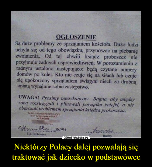 Niektórzy Polacy dalej pozwalają się traktować jak dziecko w podstawówce