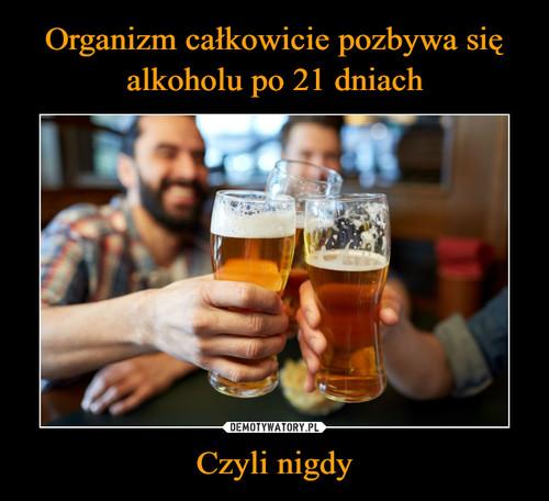 Organizm całkowicie pozbywa się alkoholu po 21 dniach Czyli nigdy