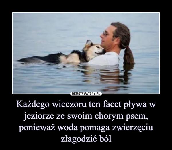 Każdego wieczoru ten facet pływa w jeziorze ze swoim chorym psem, ponieważ woda pomaga zwierzęciu złagodzić ból –