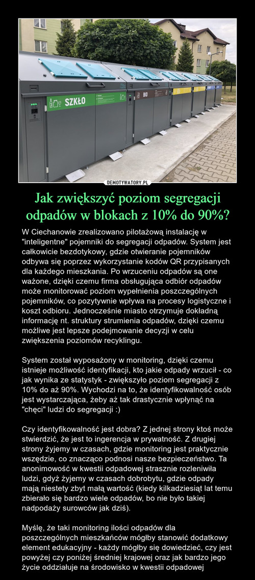 Jak zwiększyć poziom segregacji odpadów w blokach z 10% do 90%?