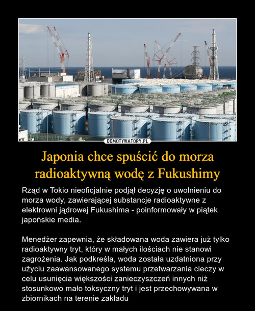 Japonia chce spuścić do morza radioaktywną wodę z Fukushimy