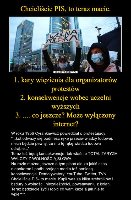 Chcieliście PIS, to teraz macie. 1. kary więzienia dla organizatorów protestów 2. konsekwencje wobec uczelni wyższych 3. .... co jeszcze? Może wyłączony internet?