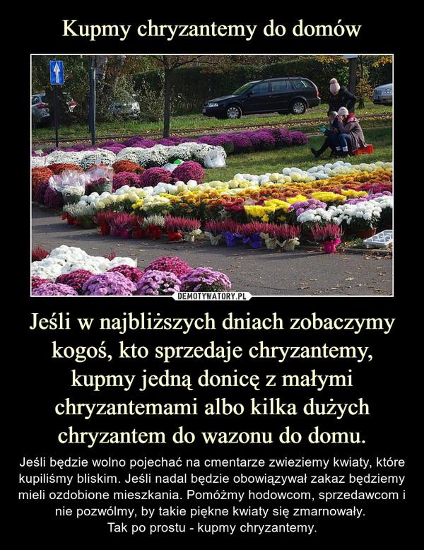 Jeśli w najbliższych dniach zobaczymy kogoś, kto sprzedaje chryzantemy, kupmy jedną donicę z małymi chryzantemami albo kilka dużych chryzantem do wazonu do domu. – Jeśli będzie wolno pojechać na cmentarze zwieziemy kwiaty, które kupiliśmy bliskim. Jeśli nadal będzie obowiązywał zakaz będziemy mieli ozdobione mieszkania. Pomóżmy hodowcom, sprzedawcom i nie pozwólmy, by takie piękne kwiaty się zmarnowały. Tak po prostu - kupmy chryzantemy.