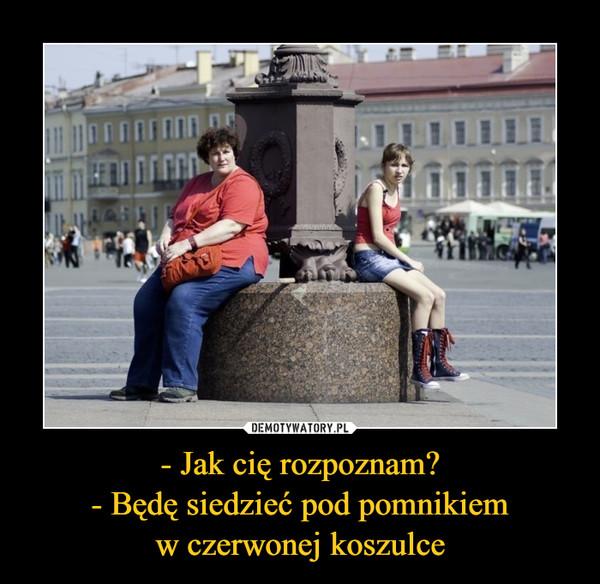 - Jak cię rozpoznam?- Będę siedzieć pod pomnikiemw czerwonej koszulce –