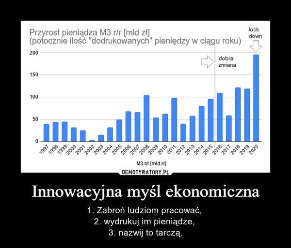 Innowacyjna myśl ekonomiczna – 1. Zabroń ludziom pracować, 2. wydrukuj im pieniądze, 3. nazwij to tarczą.