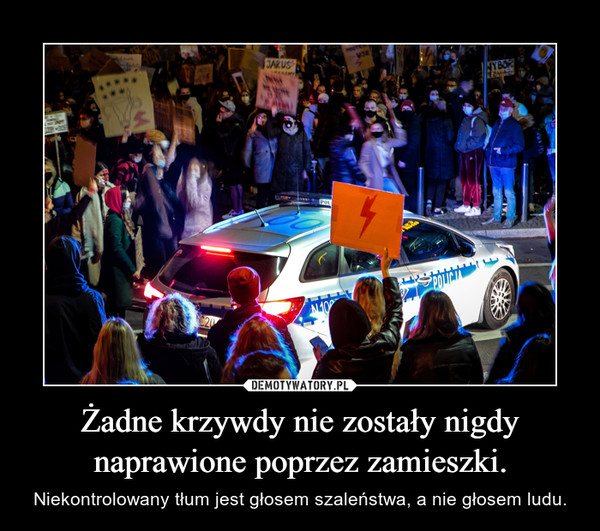Żadne krzywdy nie zostały nigdy naprawione poprzez zamieszki. – Niekontrolowany tłum jest głosem szaleństwa, a nie głosem ludu.
