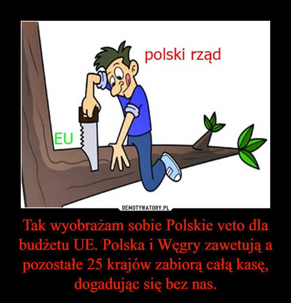 Tak wyobrażam sobie Polskie veto dla budżetu UE. Polska i Węgry zawetują a pozostałe 25 krajów zabiorą całą kasę, dogadując się bez nas. –