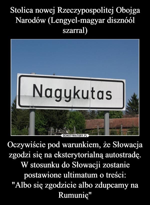 """Oczywiście pod warunkiem, że Słowacja zgodzi się na eksterytorialną autostradę. W stosunku do Słowacji zostanie postawione ultimatum o treści:""""Albo się zgodzicie albo zdupcamy na Rumunię"""" –"""