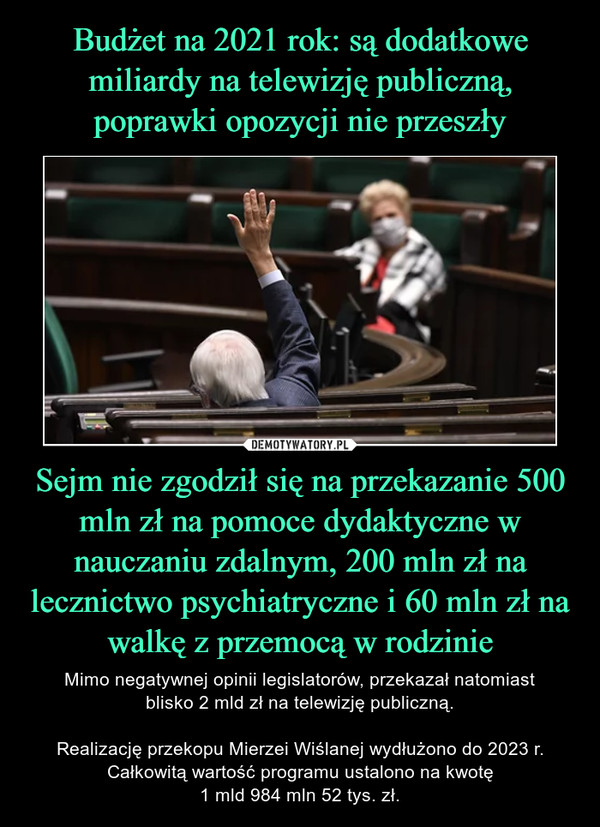 Sejm nie zgodził się na przekazanie 500 mln zł na pomoce dydaktyczne w nauczaniu zdalnym, 200 mln zł na lecznictwo psychiatryczne i 60 mln zł na walkę z przemocą w rodzinie – Mimo negatywnej opinii legislatorów, przekazał natomiastblisko 2 mld zł na telewizję publiczną.Realizację przekopu Mierzei Wiślanej wydłużono do 2023 r. Całkowitą wartość programu ustalono na kwotę1 mld 984 mln 52 tys. zł.