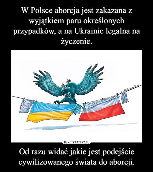 W Polsce aborcja jest zakazana z wyjątkiem paru określonych przypadków, a na Ukrainie legalna na życzenie. Od razu widać jakie jest podejście cywilizowanego świata do aborcji.