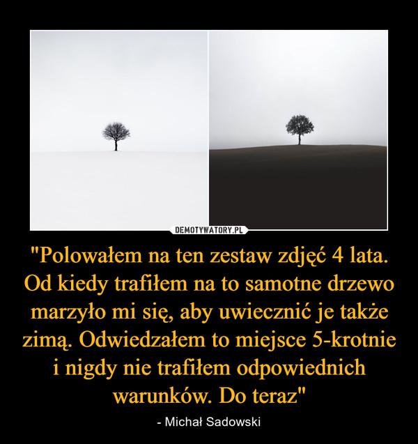 """""""Polowałem na ten zestaw zdjęć 4 lata. Od kiedy trafiłem na to samotne drzewo marzyło mi się, aby uwiecznić je także zimą. Odwiedzałem to miejsce 5-krotnie i nigdy nie trafiłem odpowiednich warunków. Do teraz"""" – - Michał Sadowski"""