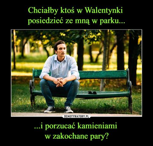 Chciałby ktoś w Walentynki  posiedzieć ze mną w parku... ...i porzucać kamieniami  w zakochane pary?