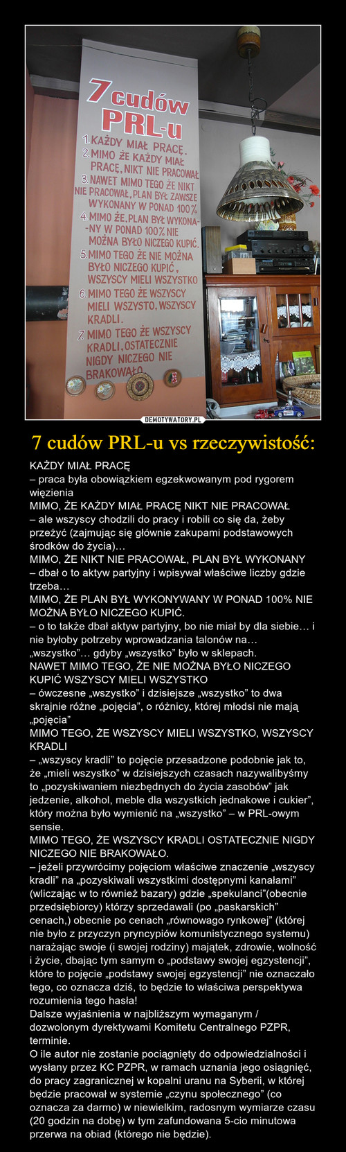 7 cudów PRL-u vs rzeczywistość: