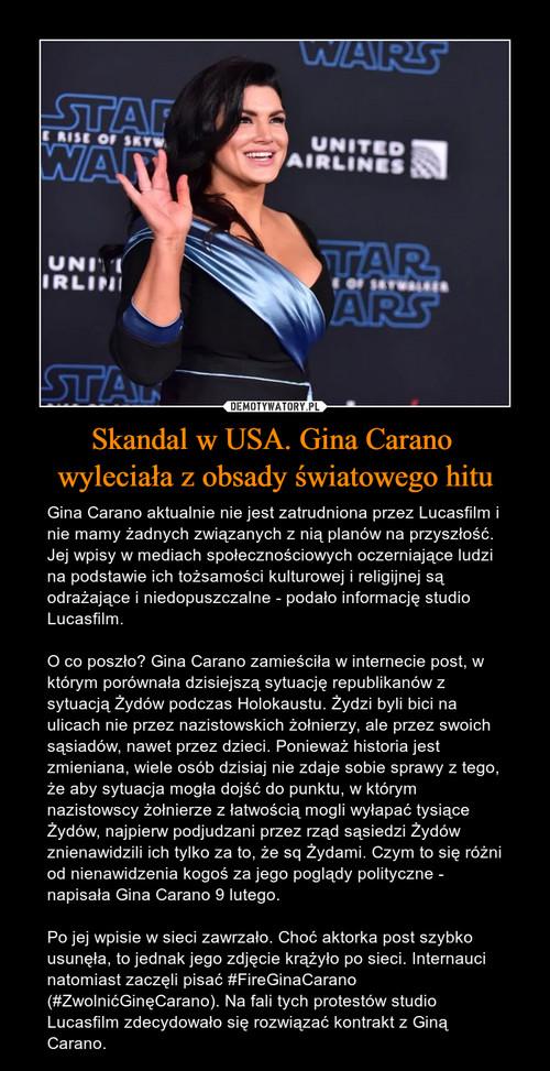 Skandal w USA. Gina Carano  wyleciała z obsady światowego hitu