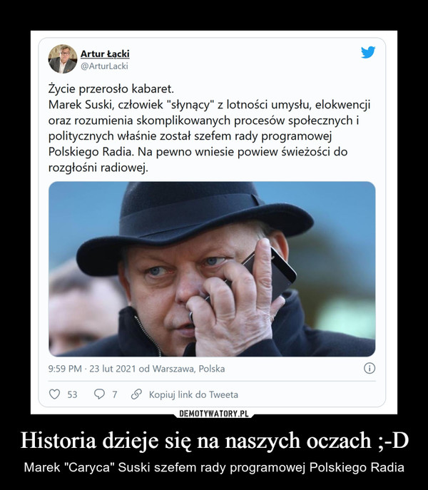 """Historia dzieje się na naszych oczach ;-D – Marek """"Caryca"""" Suski szefem rady programowej Polskiego Radia"""