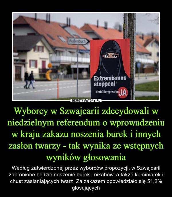 Wyborcy w Szwajcarii zdecydowali w niedzielnym referendum o wprowadzeniu w kraju zakazu noszenia burek i innych zasłon twarzy - tak wynika ze wstępnych wyników głosowania – Według zatwierdzonej przez wyborców propozycji, w Szwajcarii zabronione będzie noszenie burek i nikabów, a także kominiarek i chust zasłaniających twarz. Za zakazem opowiedziało się 51,2% głosujących