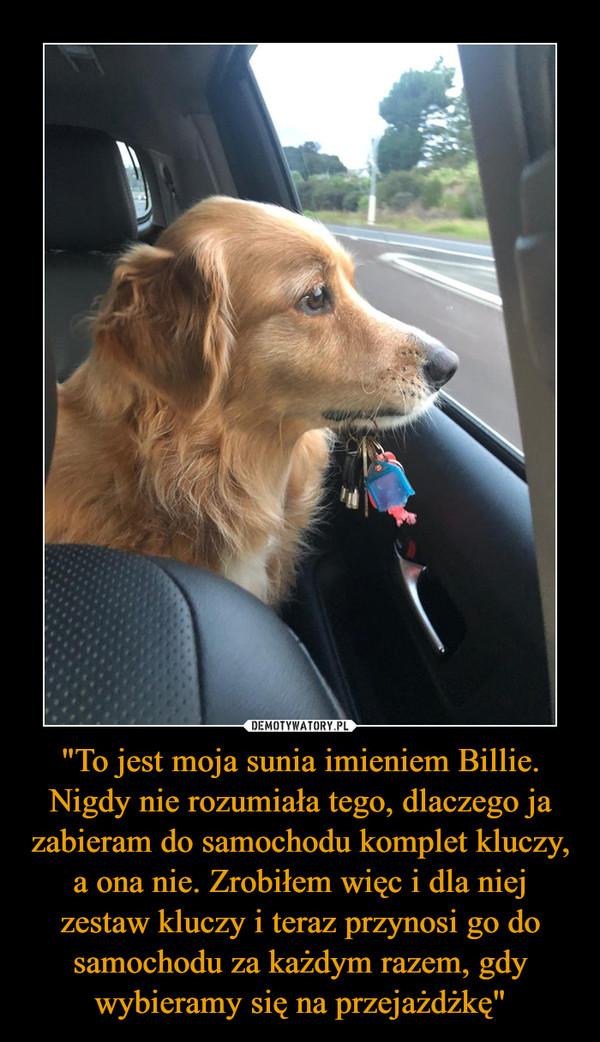 """""""To jest moja sunia imieniem Billie. Nigdy nie rozumiała tego, dlaczego ja zabieram do samochodu komplet kluczy, a ona nie. Zrobiłem więc i dla niej zestaw kluczy i teraz przynosi go do samochodu za każdym razem, gdy wybieramy się na przejażdżkę"""" –"""
