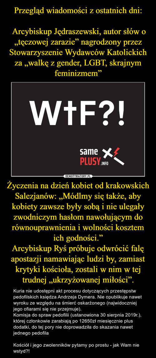 """Przegląd wiadomości z ostatnich dni:     Arcybiskup Jędraszewski, autor słów o """"tęczowej zarazie"""" nagrodzony przez Stowarzyszenie Wydawców Katolickich za """"walkę z gender, LGBT, skrajnym feminizmem"""" Życzenia na dzień kobiet od krakowskich Salezjanów: """"Módlmy się także, aby kobiety zawsze były sobą i nie ulegały zwodniczym hasłom nawołującym do równouprawnienia i wolności kosztem ich godności."""" Arcybiskup Ryś próbuje odwrócić falę apostazji namawiając ludzi by, zamiast krytyki kościoła, zostali w nim w tej trudnej """"ukrzyżowanej miłości""""."""
