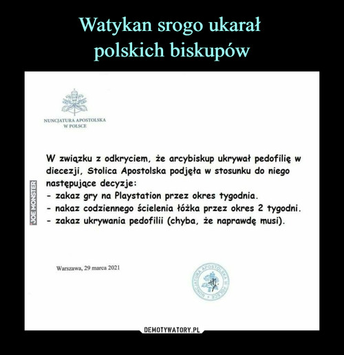 Watykan srogo ukarał  polskich biskupów