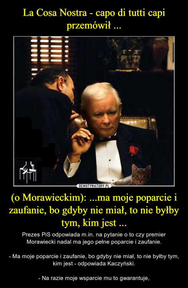 (o Morawieckim): ...ma moje poparcie i zaufanie, bo gdyby nie miał, to nie byłby tym, kim jest ... – Prezes PiS odpowiada m.in. na pytanie o to czy premier Morawiecki nadal ma jego pełne poparcie i zaufanie.- Ma moje poparcie i zaufanie, bo gdyby nie miał, to nie byłby tym, kim jest - odpowiada Kaczyński.- Na razie moje wsparcie mu to gwarantuje,