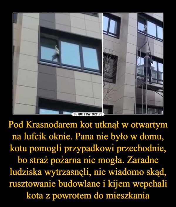 Pod Krasnodarem kot utknął w otwartym na lufcik oknie. Pana nie było w domu, kotu pomogli przypadkowi przechodnie, bo straż pożarna nie mogła. Zaradne ludziska wytrzasnęli, nie wiadomo skąd, rusztowanie budowlane i kijem wepchali kota z powrotem do mieszkania –