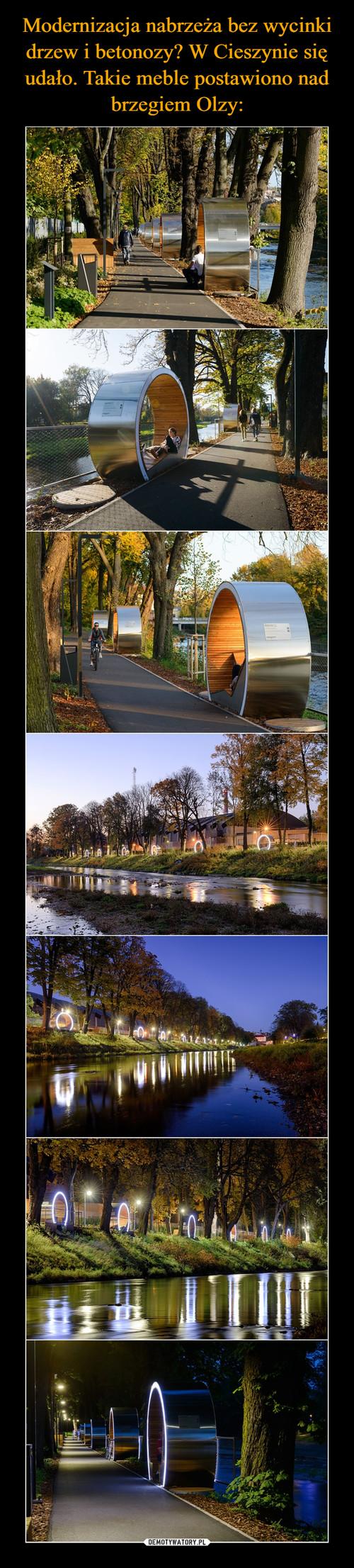 Modernizacja nabrzeża bez wycinki drzew i betonozy? W Cieszynie się udało. Takie meble postawiono nad brzegiem Olzy: