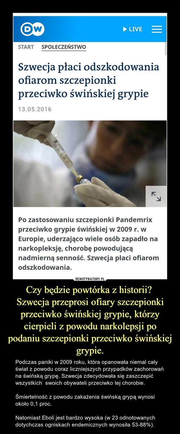 Czy będzie powtórka z historii? Szwecja przeprosi ofiary szczepionki przeciwko świńskiej grypie, którzy cierpieli z powodu narkolepsji po podaniu szczepionki przeciwko świńskiej grypie. – Podczas paniki w 2009 roku, która opanowała niemal cały świat z powodu coraz liczniejszych przypadków zachorowań na świńską grypę, Szwecja zdecydowała się zaszczepić wszystkich  swoich obywateli przeciwko tej chorobie. Śmiertelność z powodu zakażenia świńską grypą wynosi około 0,1 proc.Natomiast Eboli jest bardzo wysoka (w 23 odnotowanych dotychczas ogniskach endemicznych wynosiła 53-88%).