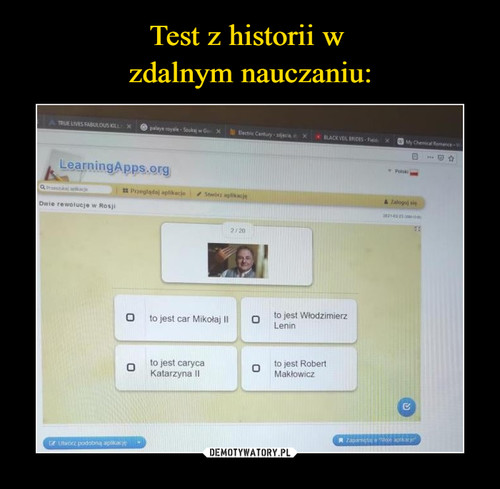 Test z historii w  zdalnym nauczaniu: