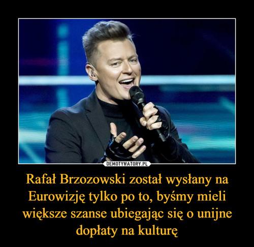 Rafał Brzozowski został wysłany na Eurowizję tylko po to, byśmy mieli większe szanse ubiegając się o unijne dopłaty na kulturę