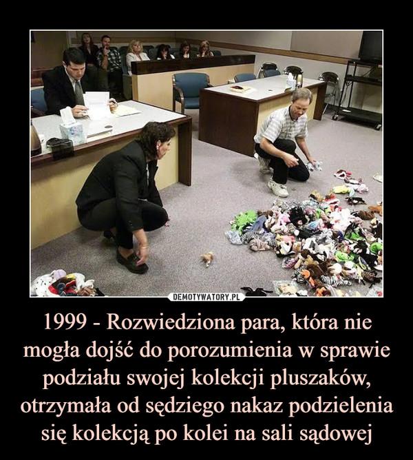 1999 - Rozwiedziona para, która nie mogła dojść do porozumienia w sprawie podziału swojej kolekcji pluszaków, otrzymała od sędziego nakaz podzielenia się kolekcją po kolei na sali sądowej –