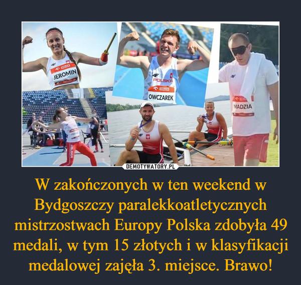 W zakończonych w ten weekend w Bydgoszczy paralekkoatletycznych mistrzostwach Europy Polska zdobyła 49 medali, w tym 15 złotych i w klasyfikacji medalowej zajęła 3. miejsce. Brawo! –