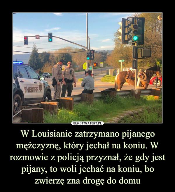 W Louisianie zatrzymano pijanego mężczyznę, który jechał na koniu. W rozmowie z policją przyznał, że gdy jest pijany, to woli jechać na koniu, bo zwierzę zna drogę do domu –