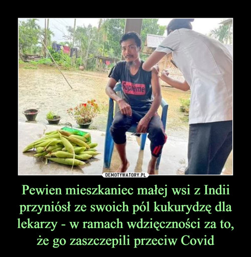 Pewien mieszkaniec małej wsi z Indii przyniósł ze swoich pól kukurydzę dla lekarzy - w ramach wdzięczności za to, że go zaszczepili przeciw Covid