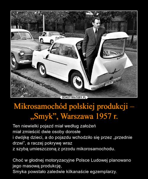 """Mikrosamochód polskiej produkcji – """"Smyk"""", Warszawa 1957 r."""