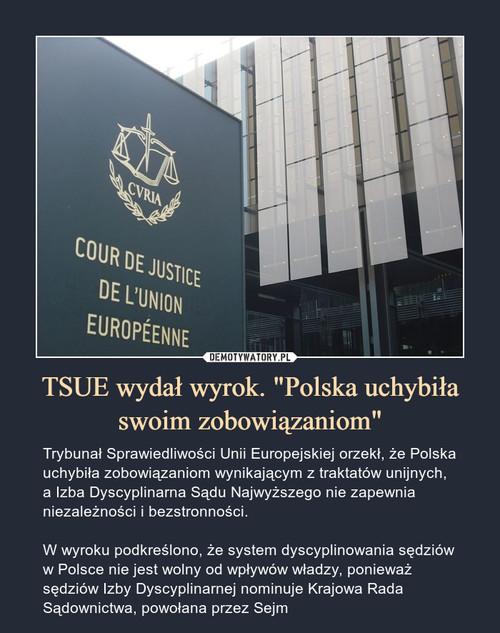 """TSUE wydał wyrok. """"Polska uchybiła swoim zobowiązaniom"""""""