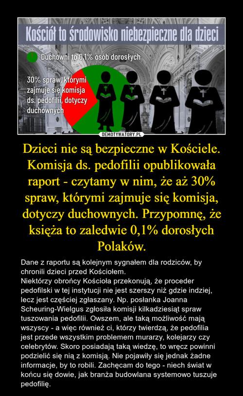 Dzieci nie są bezpieczne w Kościele. Komisja ds. pedofilii opublikowała raport - czytamy w nim, że aż 30% spraw, którymi zajmuje się komisja, dotyczy duchownych. Przypomnę, że księża to zaledwie 0,1% dorosłych Polaków.