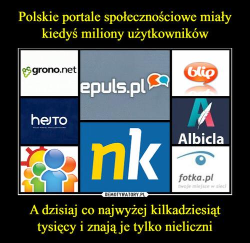 Polskie portale społecznościowe miały kiedyś miliony użytkowników A dzisiaj co najwyżej kilkadziesiąt tysięcy i znają je tylko nieliczni